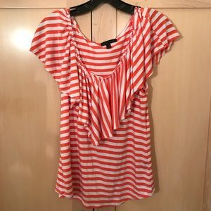 Urban Outfitters Luca Couture Striped Ruffle Shirt